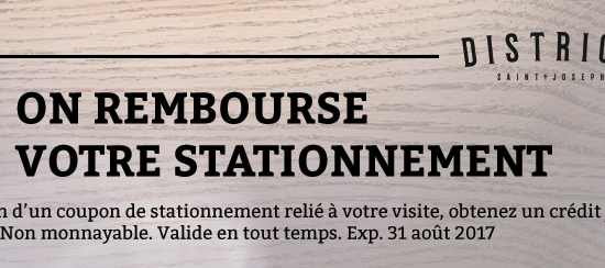 Rabais stationnement | District Saint-Joseph