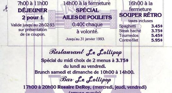 Menu du Lollipop en 1993