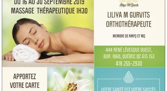 10% de rabais sur massage thérapeutique | Liliya M Gurvits Orthothérapeute