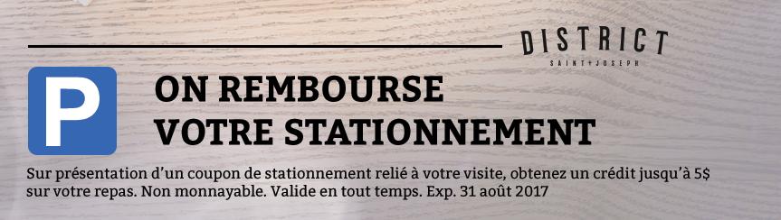 Rabais stationnement   District Saint-Joseph