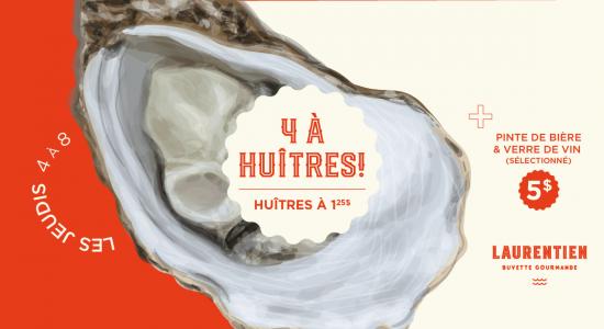Jeudi 4 à huîtres | Laurentien Buvette Gourmande