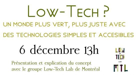 Low-Tech: présentation et discussion avec Low-Tech Lab Montréal