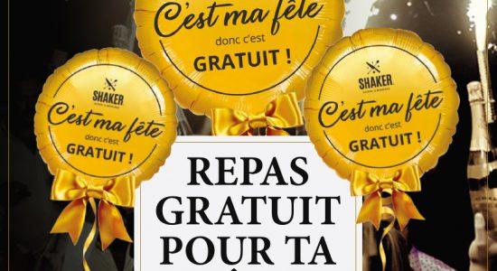 Repas gratuit pour ta fête | SHAKER St-Joseph – Cuisine & Mixologie