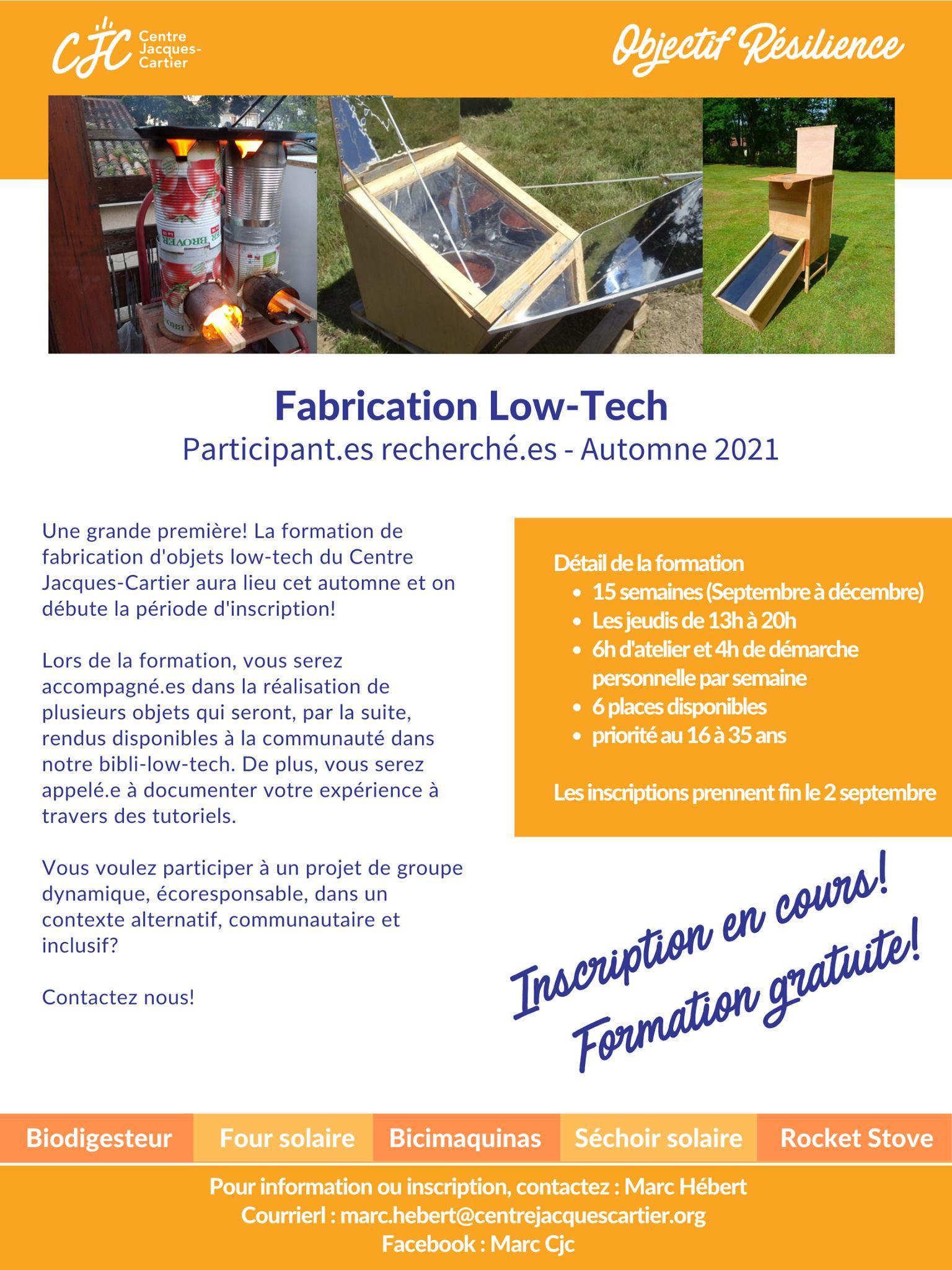 Formation de fabrication d'objets Low-Tech